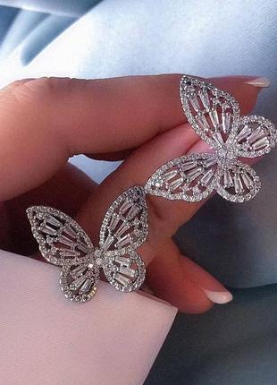 Серьги серёжки в камнях бабочки гвоздики