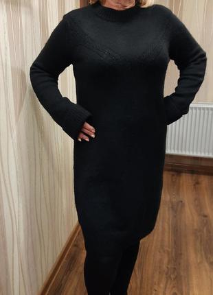Базовое теплое черное платье для холодных дней, 50-54р.