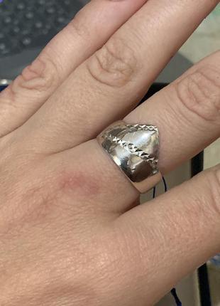 Кольцо с насечками серебро 925 пробы