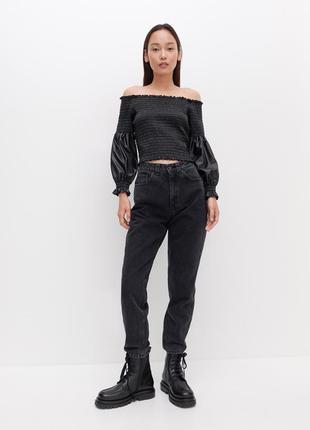 Джинси чорні трендові круті. джинсы mom fit, женские джинсы, трендовые джинсы, фирменные джинсы.