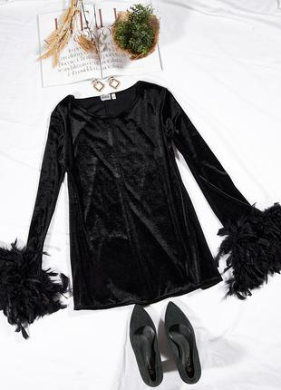Нарядная блузка с перьями, бархатная блуза с перьями, черная блузка туника