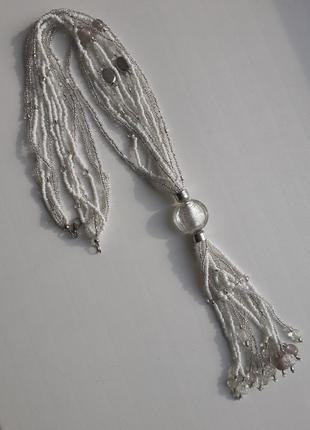 Ожерелье из бисера, подвеска кисточка