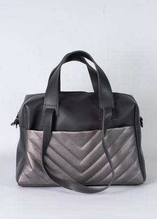 Черна-серая большая сумка шоппер с двойными ручками деловая женская сумочка для ноутбука а4