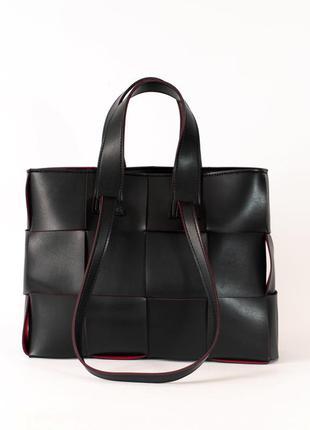 Плетеная деловая сумка для документов черная с красными торцами модная сумочка для ноутбука а4