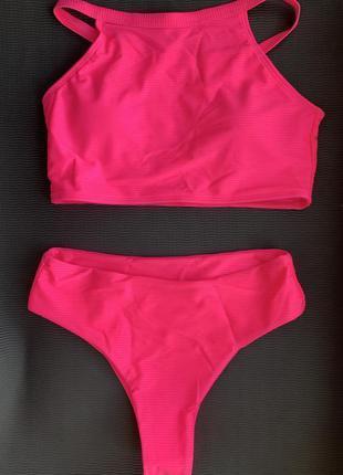 Трендовий купальник, висока талія рожевий малиновий купальник неоновий літо 2021.