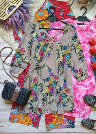 Шифоновое цветочное платье свободного кроя с бретелями на спине