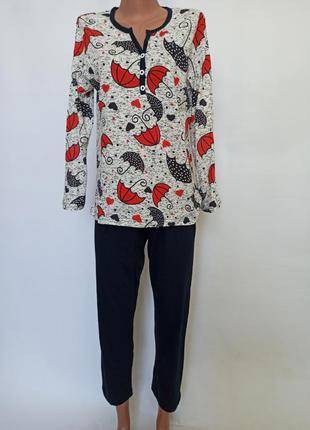 Пижама женская с длинным рукавом и штаны трикотаж