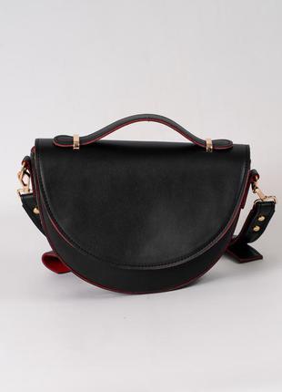 Сумочка маленькая черная кросс боди через плечо модная мини сумка с ручкой на длинном ремешке