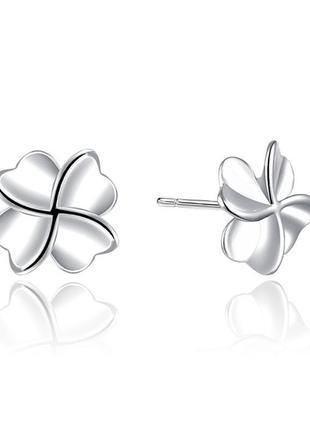 Женские серебряные сережки-гвоздики клевер серебро серьги с клевером