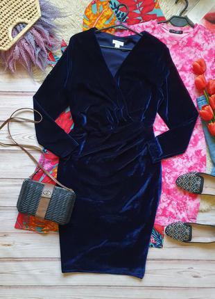 Бархатное велюровое приталеное платье