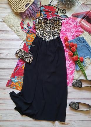 Розкошное вечернее  длинное шифоновое платье с чашками и пайетками