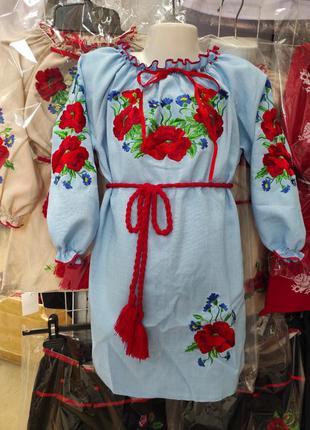 Платье - вышиванка маки для девочки