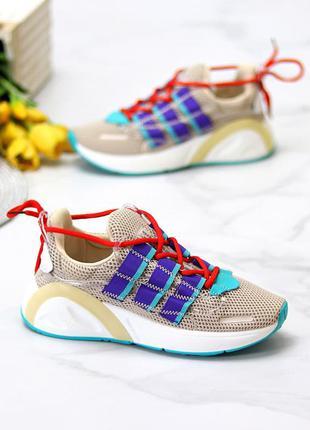 Яркие бежевые текстильные женские дышащие кроссовки сетка доступная цена   к 11631