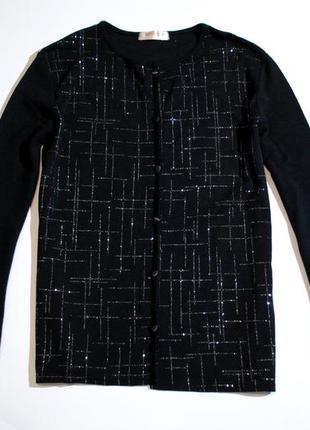 Кофта женская черная бренд bonmarche англия м на пуговицах свитер блестки украшена блестящая