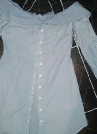 Шикарная рубашка-блуза с открытыми плечами на девочку подростка