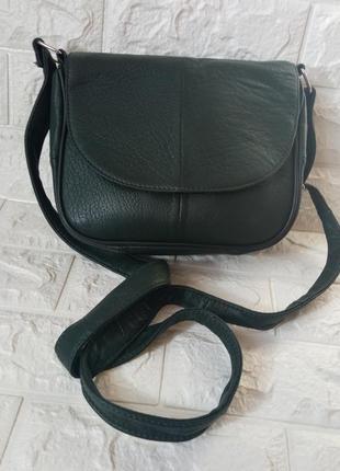 Сумка кожаная зеленая маленькая через плечо клапан конверт сумочка женская кожаная