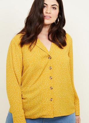 Желтая блуза в горошек большого размера батал new look