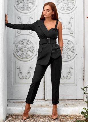 Костюм двойка женский, пиджак асимметричный на одно плечо и брюки, черный, с, м, л