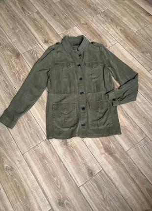 Ветровка парка куртка демисезонная прямая, накладные карманы, оверсайз, оливковый оттенок хаки