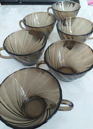 Чашки duralex france тонированое стекло 6 шт.