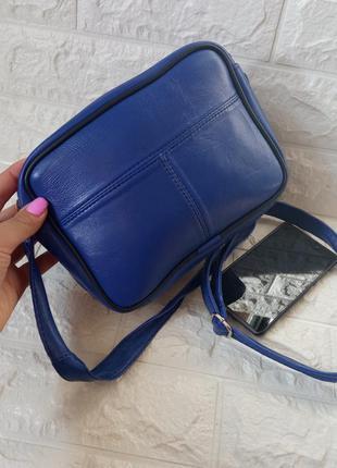 Женская кожаная квадратная синяя яркая сумочка сумка через плечо