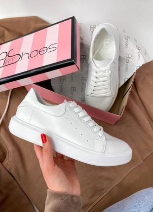 Белые кожаные натуральные кроссовки кеды 🔥