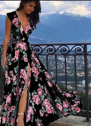 Шикарнре цветастое платье в пол, люкс качество, размер м.