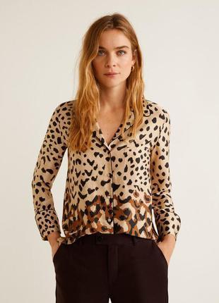 Рубашка в бельевом стиле в леопардовый принт mango