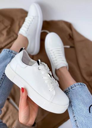 🔥 белые кожаные натуральные кроссовки кеды с рефлективными вставками