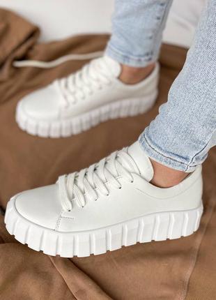 🔥 белые кожаные натуральные кроссовки кеды топ качество 🔥