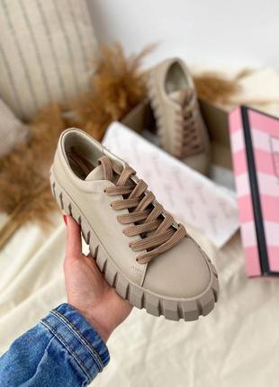 🔥 кожаные бежевые кроссовки кеды топ качество 🔥
