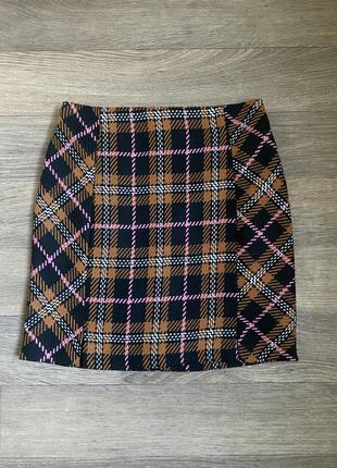 Твидовая юбка карандаш в клетку в стиле zara р.м