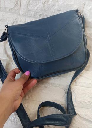 Маленькая женская кожаная сумочка синяя сумка через плечо клапан конверт