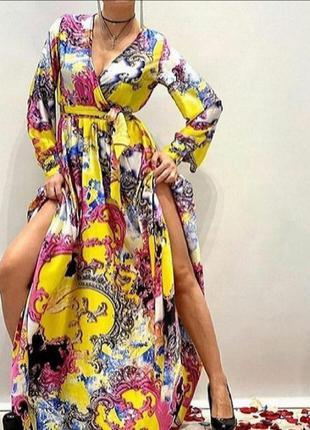 Шикарное яркое платье в пол,шелк,дорогая фабрика, размер хл,последнее.