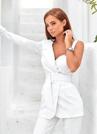 Костюм двойка женский, нарядный, пиджак асимметричный на одно плечо и брюки, белый, с, м,л, 44,46,48