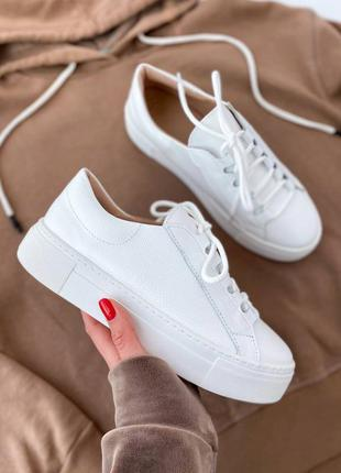🔥 белые кожаные натуральные кроссовки кеды 🔥