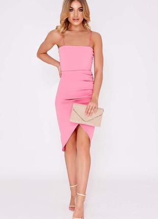 Розовое платье миди с запахом dianne pink с солнками