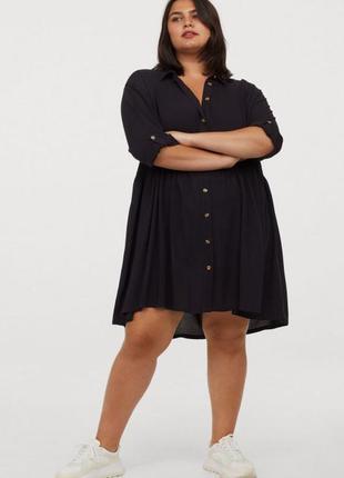 Черное платье рубашка свободного кроя h&m