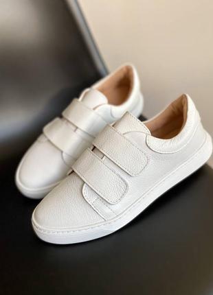 🔥 базовые белые кожаные кеды кроссовки на липучках 🔥