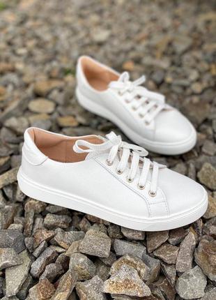 🔥 стильные белые кожаные натуральные кроссовки кеды 🔥