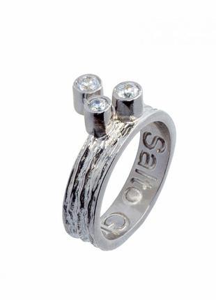 Кольцо salto gioielli антик серебро 925 фианиты