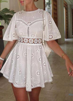 Платье с кружевом коттон на подкладке молния на спине