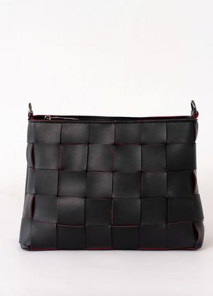 Черная модная сумочка через плечо на молнии популярная сумка мини плетеная на длинном ремешке