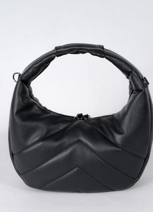 Черная модная сумка торбочка круглая маленькая ручная сумка на длинной ручке