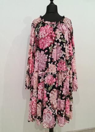 Стильное шифоновое платье в цветы h&m