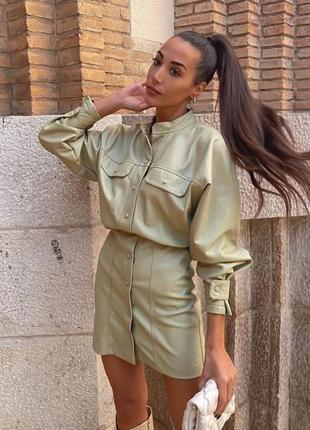 Платье кожзам кожа оливковое хаки на кнопках короткое zara xs s