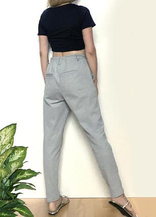 Трикотажные высокие брюки резинка кулиска серые женские eur 40-42