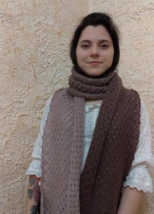Ажурный вязанный длинный шарф