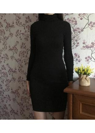 Черное приталенное платье, короткое платье, платье-гольф asos