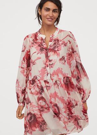 Яркое шифоновое платье в цветы h&m